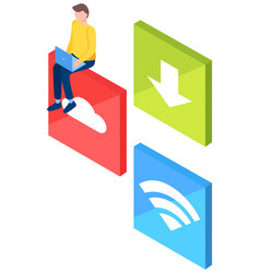 man with signs cloud arrow to down and wi-fi vector image