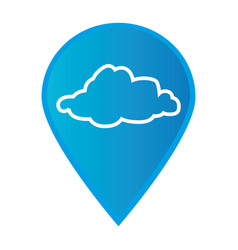 mark icon pointer gps with silhouette cloud icon vector image