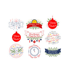 merry christmas happy new year typographic vector image