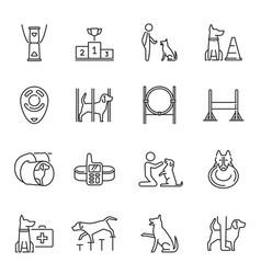 monochrome dog training icon set vector image