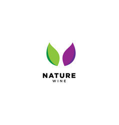 Nature wine logo design vector