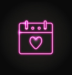 neon valentines day calendar icon in line style vector image