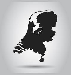 netherlands map black icon on white background vector image