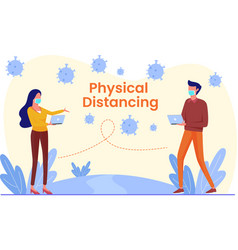 physical distance and social distance vector image
