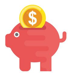 Piggy bank flat icon vector