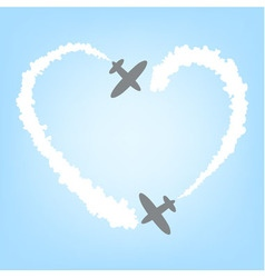 plane with smoke in the form of heart vector image