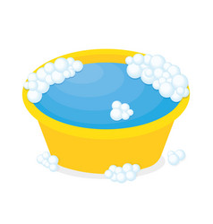 Plastic basin with soap suds vector