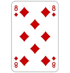 Poker playing card 8 diamond vector