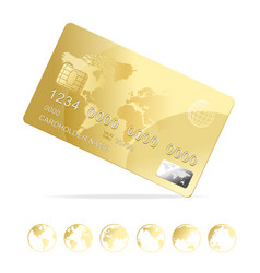realistic 3d detailed gold shiny plastic credit vector image