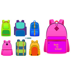 realistic school backpack in different color vector image