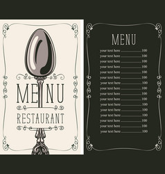 Restaurant menu with price list and spoon vector