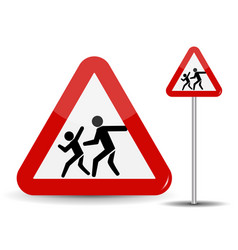 road sign warning children in the red triangle vector image