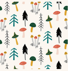seamless childish pattern with mushrooms forest vector image