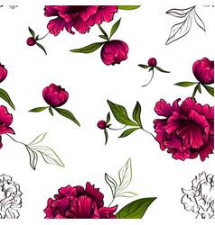 seamless pattern red luxury peonies vector image