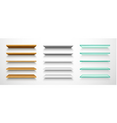 Set isolated 3d book shelf or shelves vector
