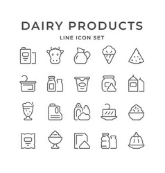 Set line icons dairy products vector
