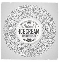 Set of Ice Cream cartoon doodle objects symbols vector image