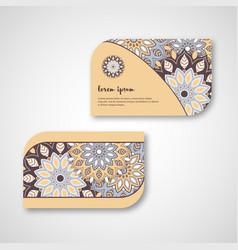 Set of ornamental hand drawn mandala cards vector