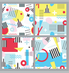 set of seamless patterns in memphis style vector image