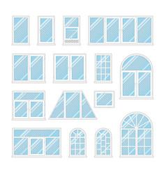 Set windows with transparent blue glass vector