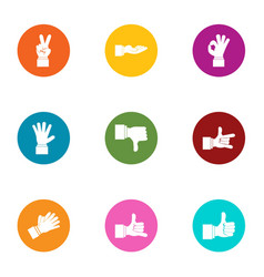 Sign language icons set flat style vector
