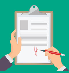 signature documents business person hand holding vector image
