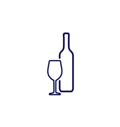 Silhouette wine bottle and wineglass icon vector