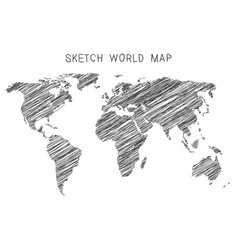Sketch world map vector