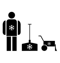 Snow removal the black color icon vector