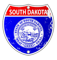 South dakota flag icons as interstate sign vector