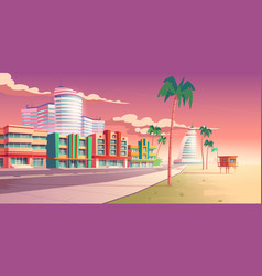 street in miami with hotels and sand beach vector image