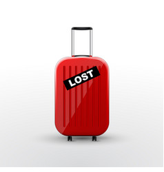 Suitcase with black lost sticker baggage lost vector