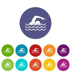 Swimmer set icons vector image