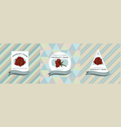 three colored labels with roses vector image