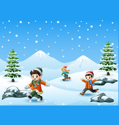 three kids playing in winter vector image