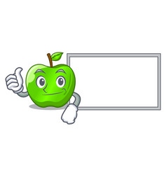 Thumbs up with board cartoon of big shiny green vector