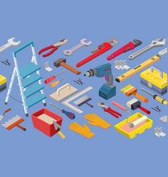 tools seamless pattern isometric vector image