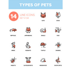 Types of pets - modern single line icons vector