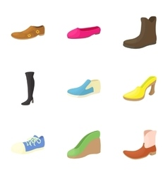 Types of shoes icons set cartoon style vector