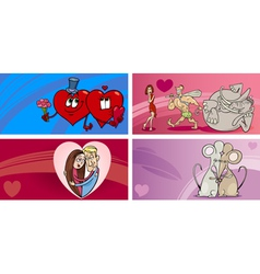valentine cartoon greeting cards set vector image