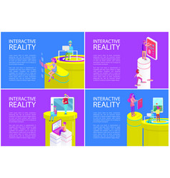 virtual reality man and woman vector image