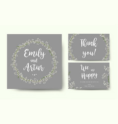 Wedding floral gray invite card with tiny flowers vector