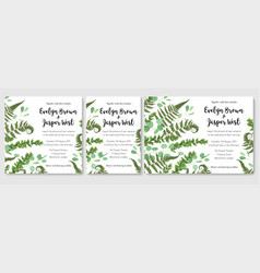 wedding invitation set fern leaves greenery vector image