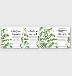Wedding invitation set fern leaves greenery vector