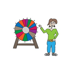 Wheel of fortune and woman vector