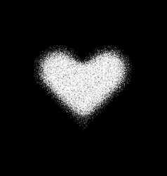 white abstract heart sign with grain texture vector image