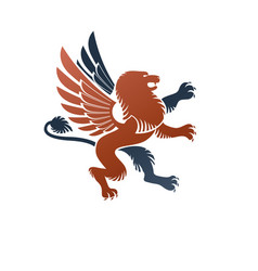 Winged gryphon mythical animal ancient emblem vector