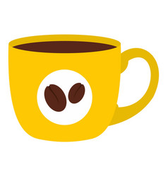 yellow cup of coffee icon isolated vector image