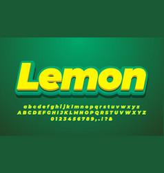 Yellow lemon 3d alphabet text effect or font vector
