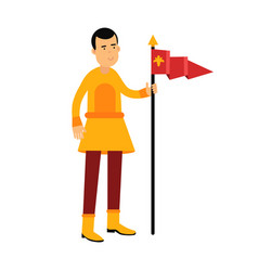 Young standard bearer holding a red banner vector